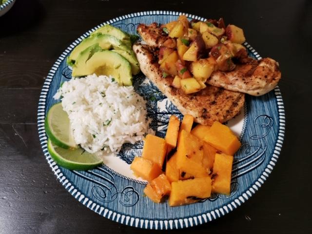 Cayenne Chicken with Peach Salsa
