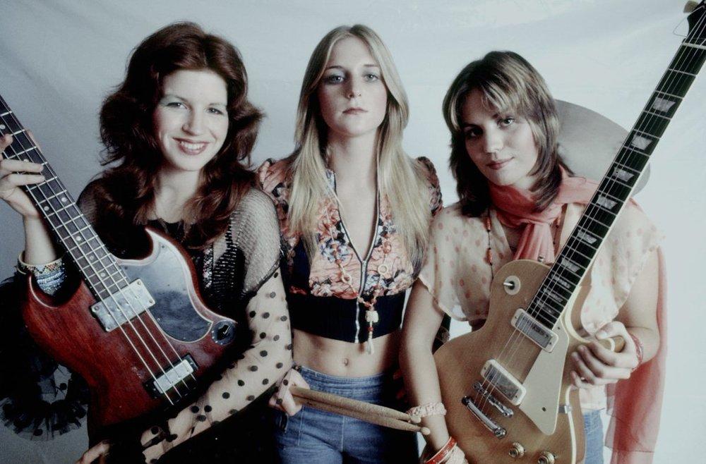 Micki Steele, Sandy West, and Joan Jett in the original Runaways lineup