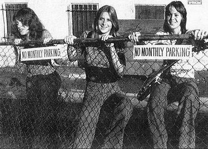 Micki Steele, Sandy West, and Joan Jett in the original lineup of the Runaways