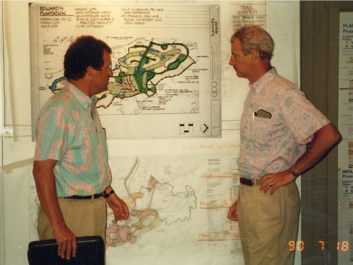 Jim Chaffin & Jim Light Going over Master Plan for Spring Island