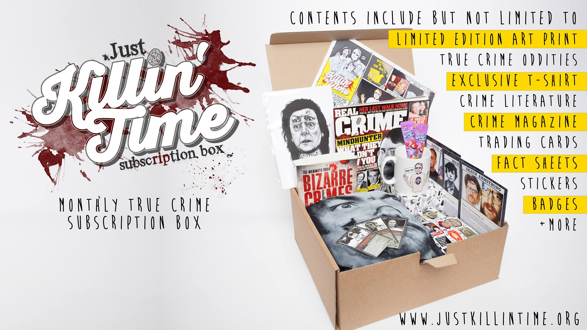 An example of whats available in the Just Killin' Time subscription boxes