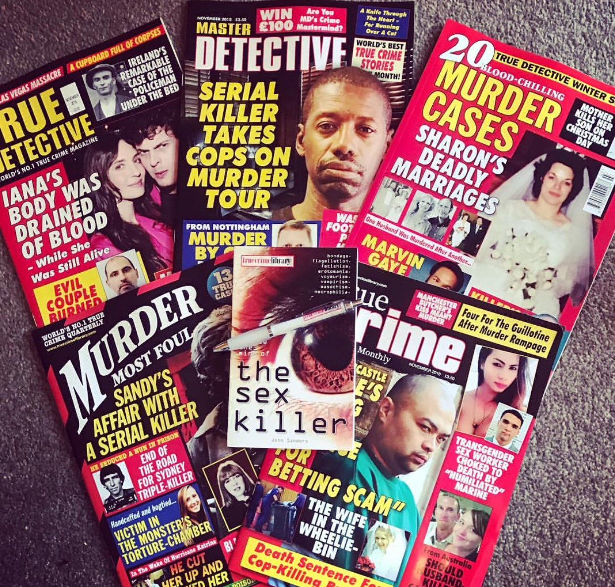 A selection of products True Crime Library offer.