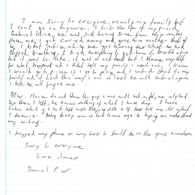 The note found with Daniel Whitworth