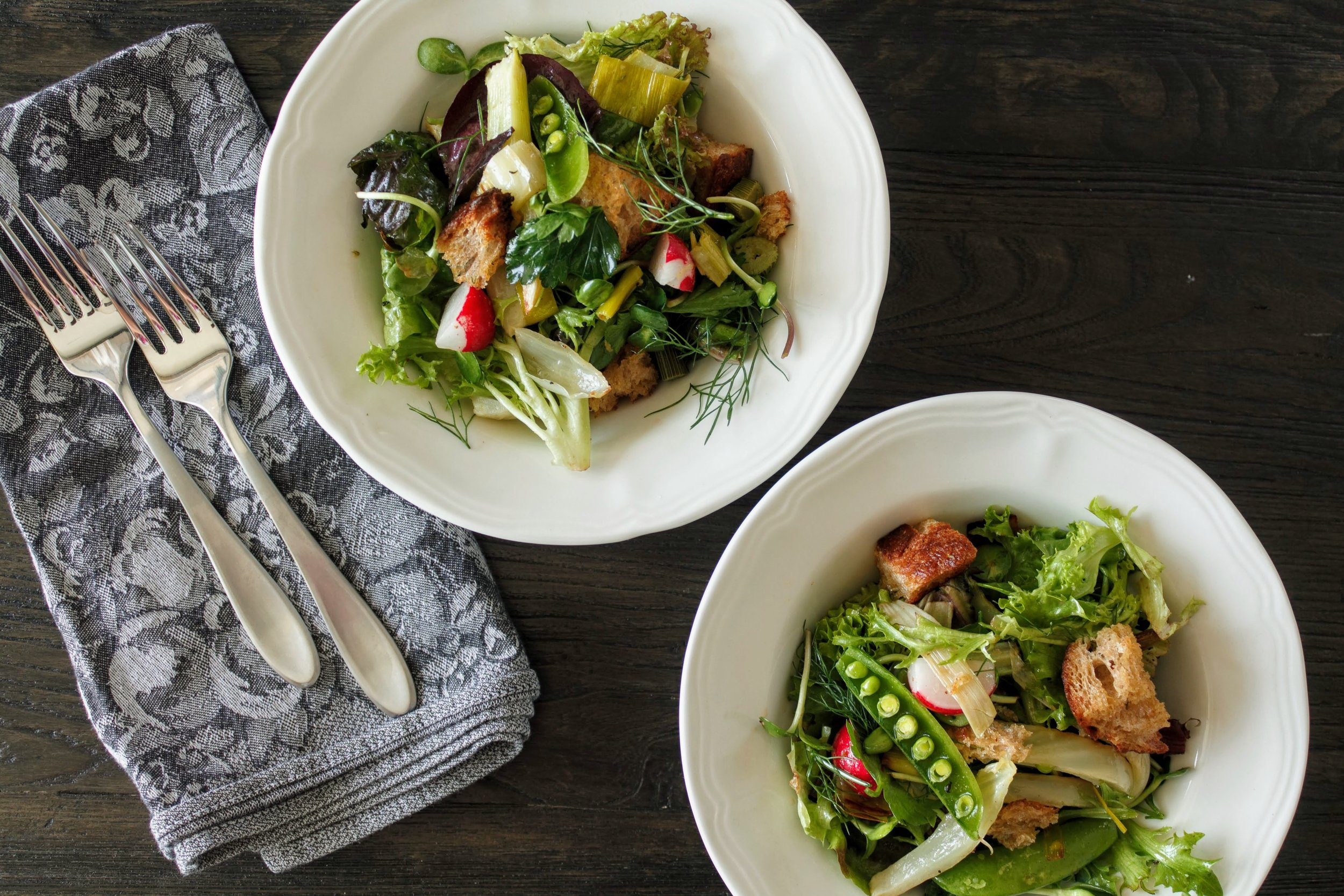 Spring Panzanella with Thyme Croutons