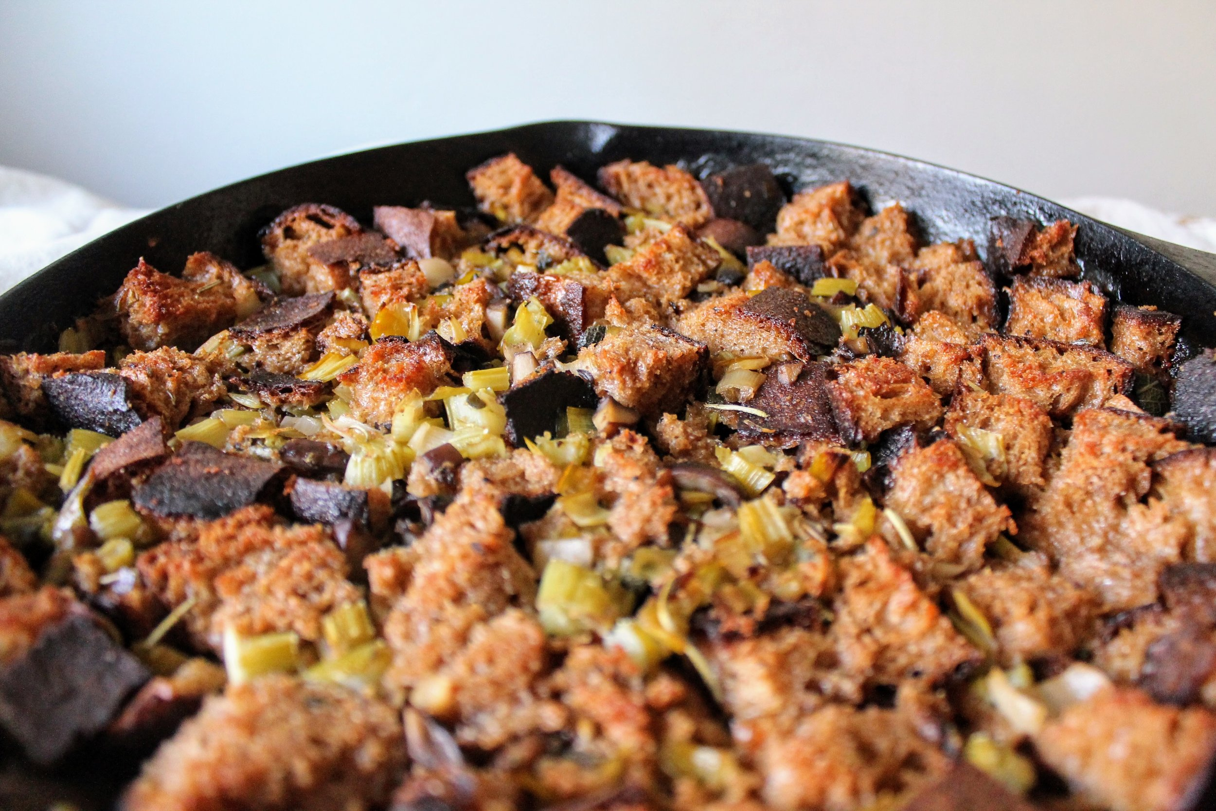 Thanksgiving Stuffing with Sourdough, Leeks, and Mushrooms