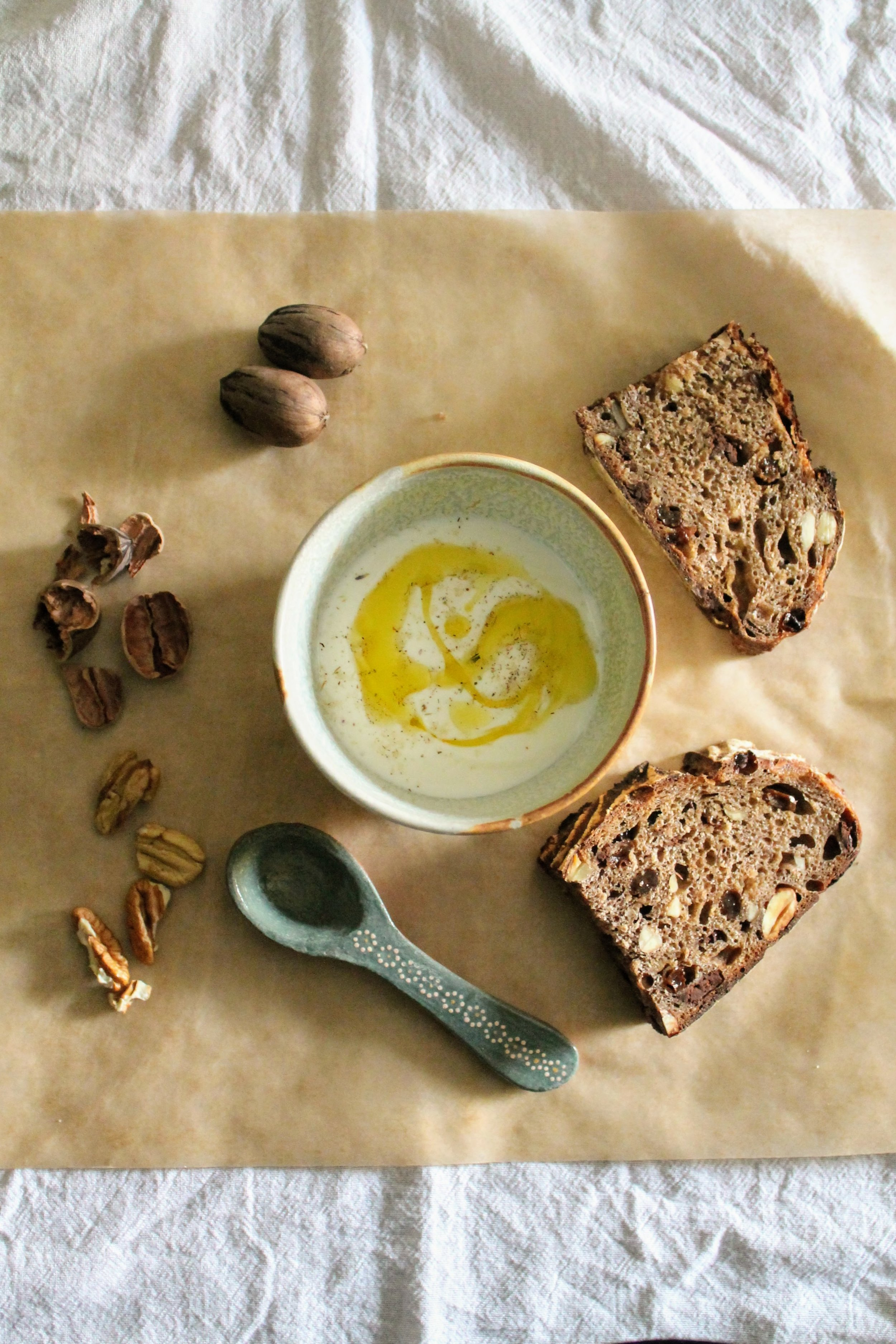 Yogurt with Olive Oil, Fresh Pecans, and Sourdough
