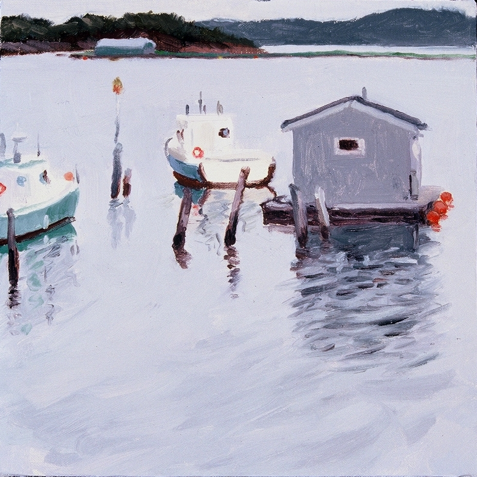 "Beaver Harbour Boats  oils, 12"" x 12"""