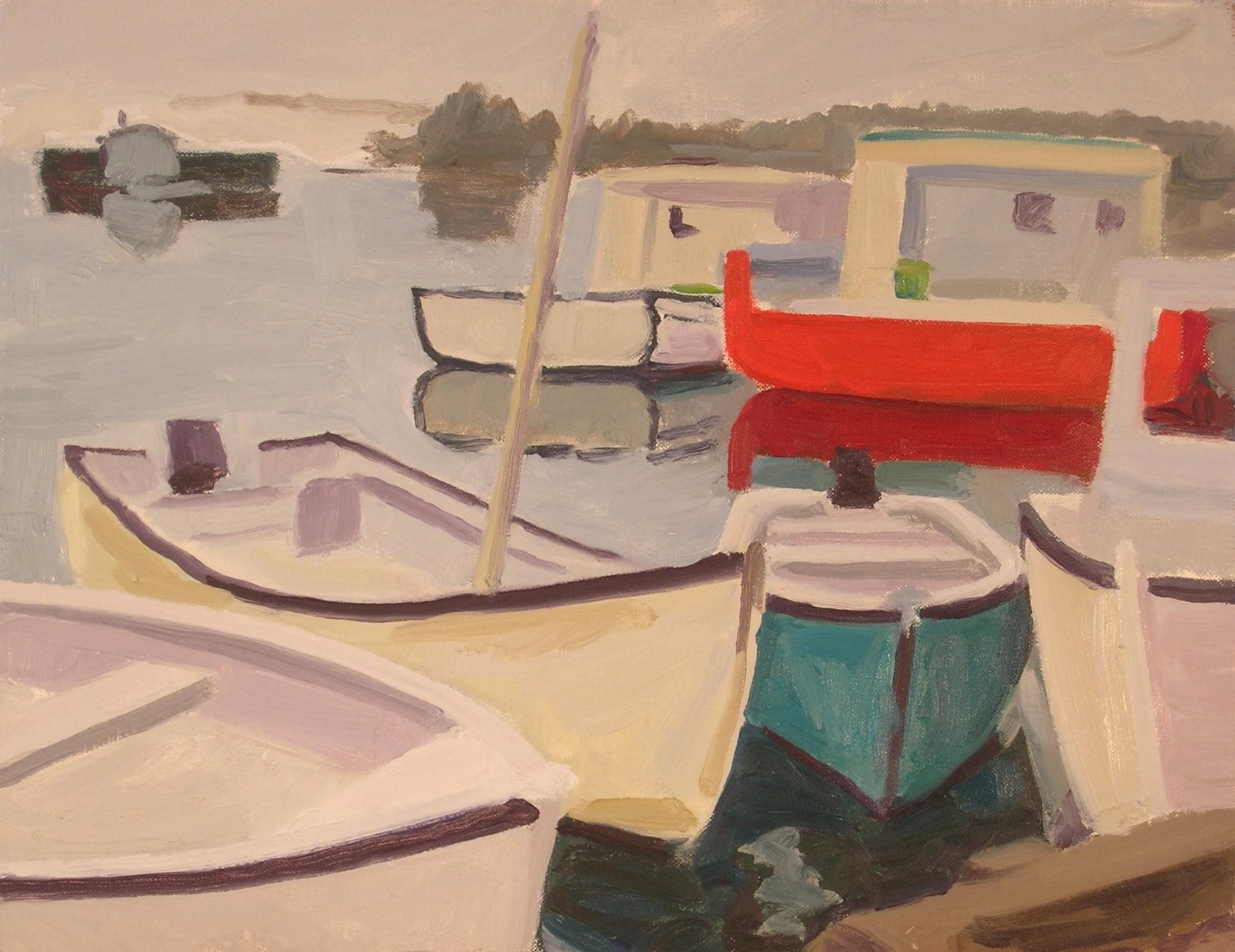 "Floating Boats  oils, 16"" x 20"""