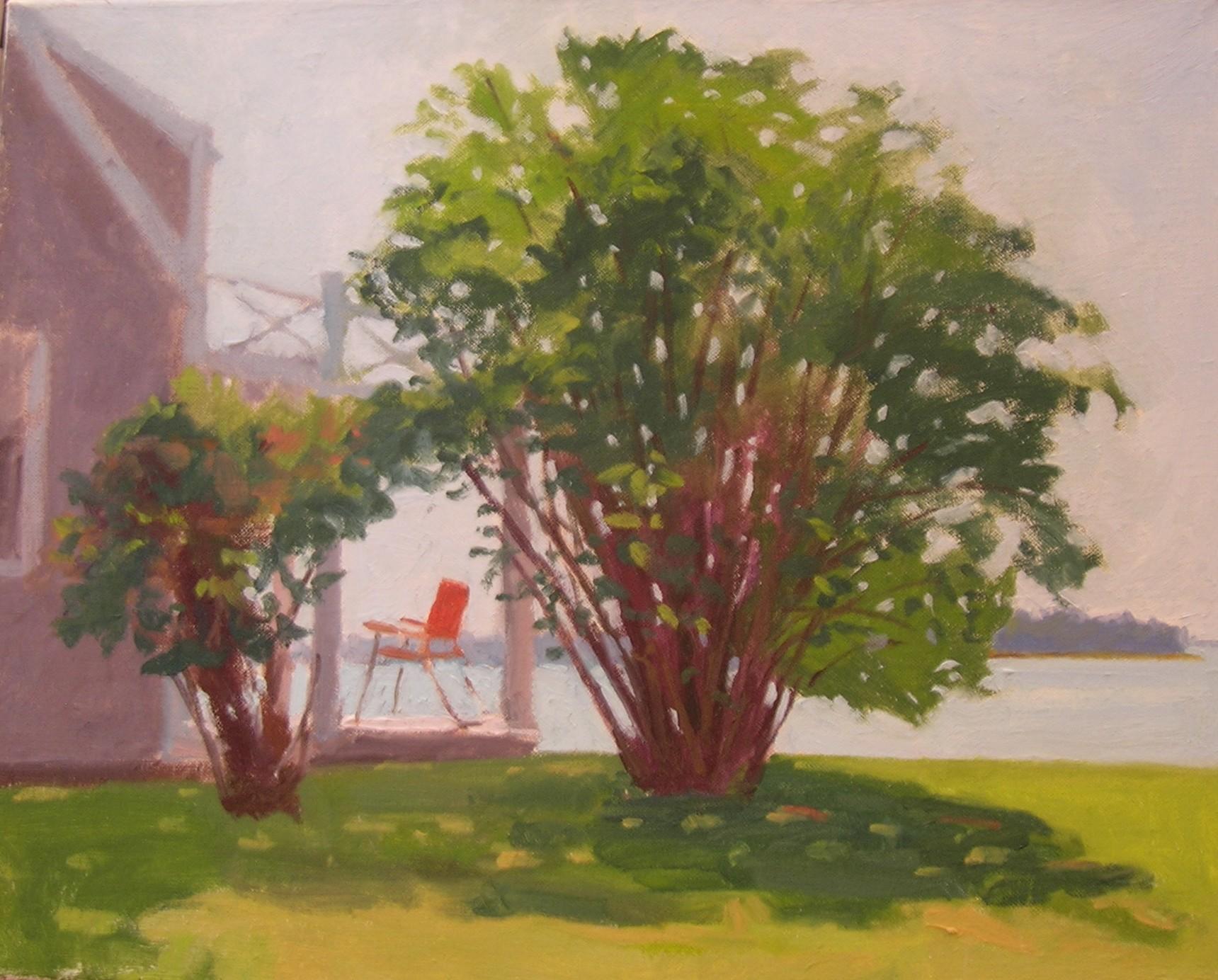 """Porch Chair  oils, 16"""" x 20"""""""