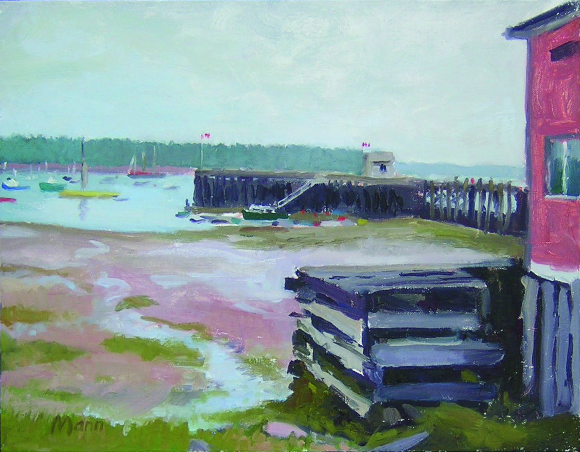 """Low Tide, St. Andrews Wharf  oils, 16"""" x 20""""  sold"""