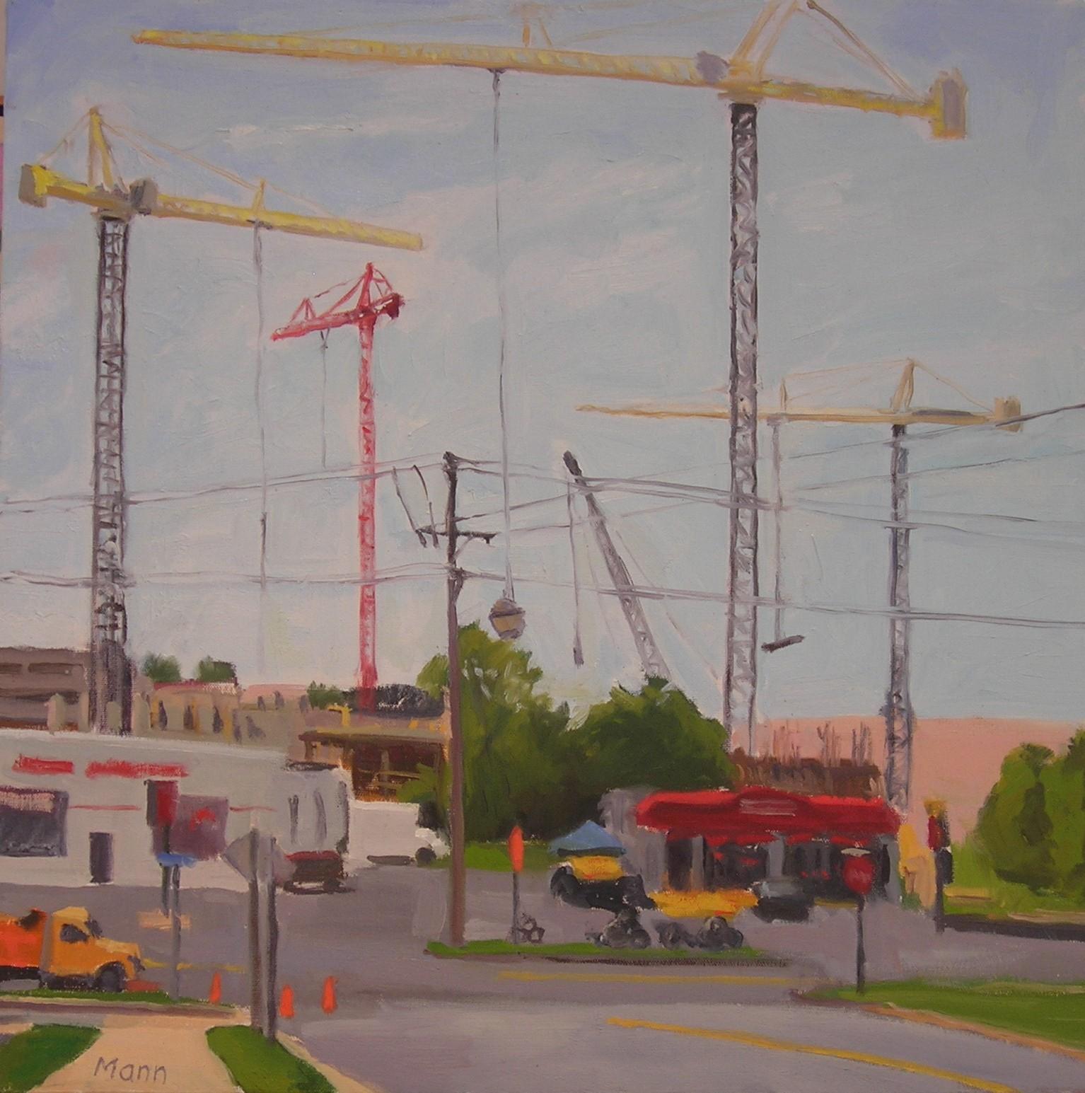 """Merrifield Cranes  oils, 20"""" x 20"""""""