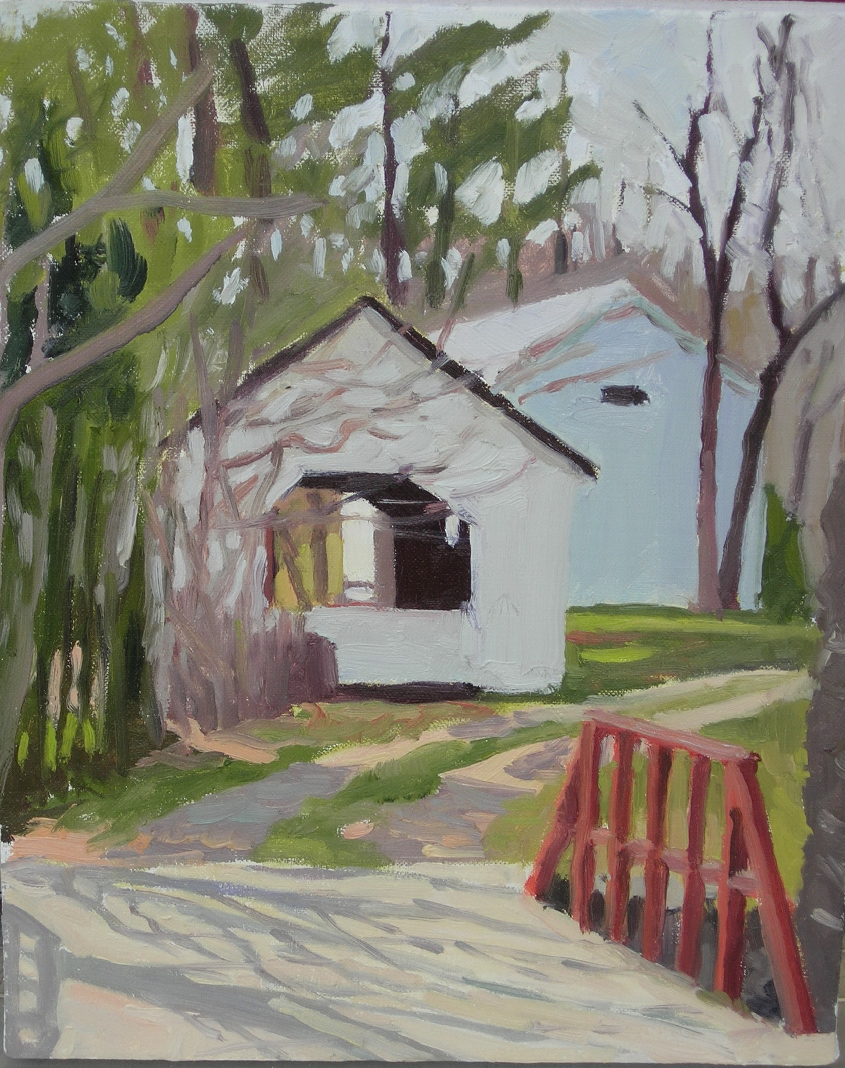 "Sheds at Aldie Mill  OIls, 14"" x 11"""