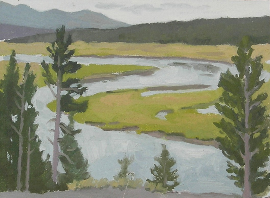 """Yellowstone River  oils, 9"""" x 12"""" sold"""
