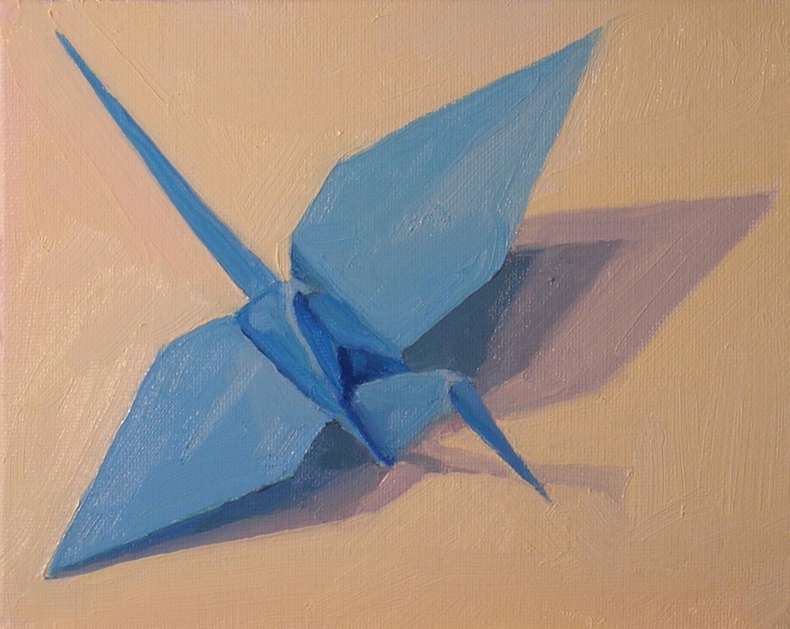 "Blue Origami Crane  oils, 6"" x 8"""