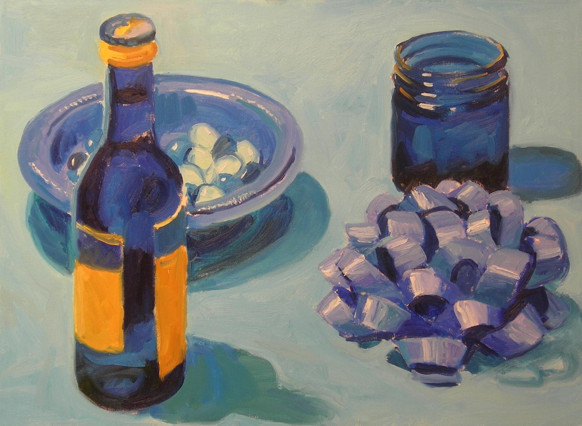 "Blue  oils, 18"" x 24"""