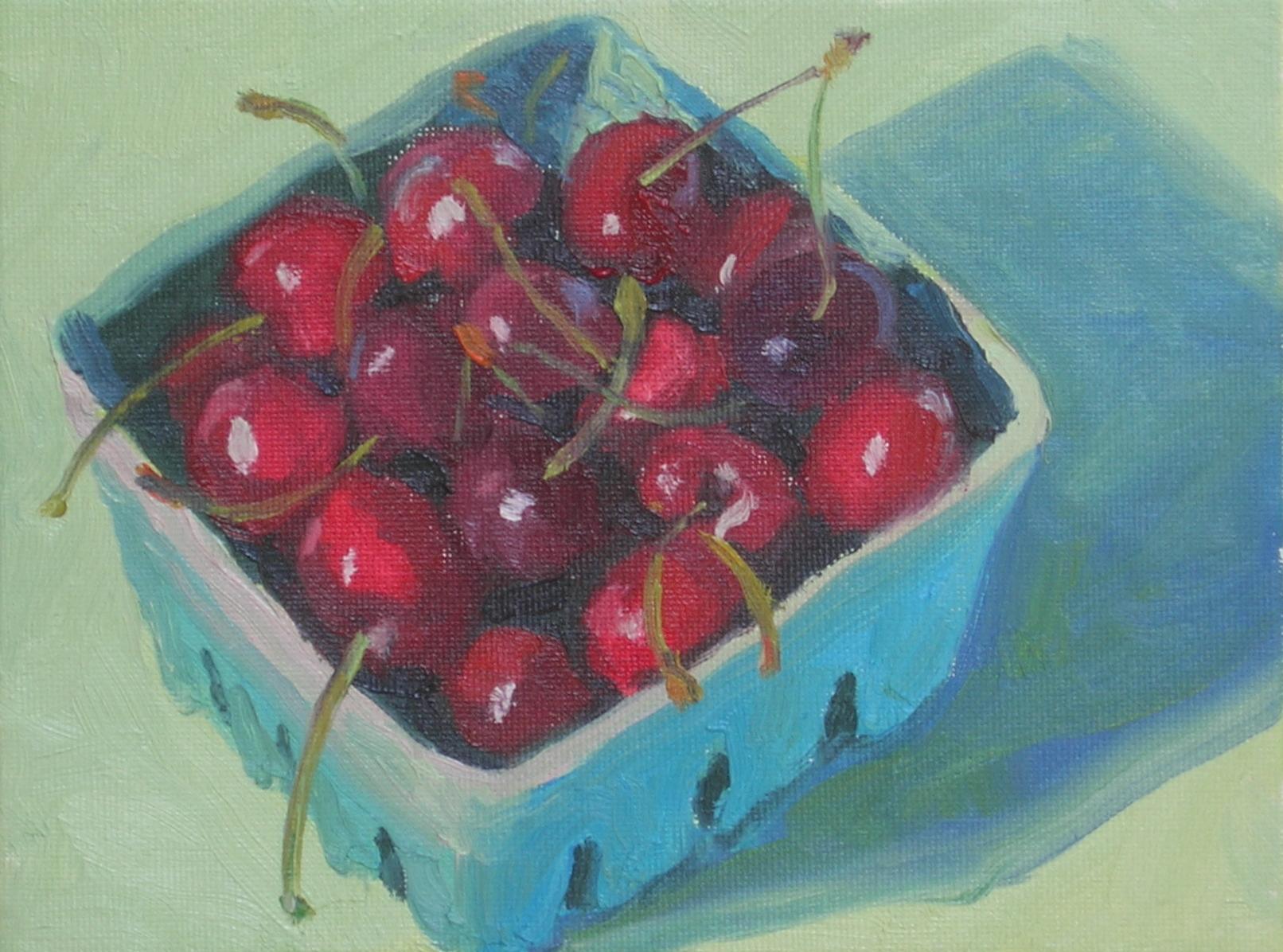 """Box of Cherries  6"""" x 8""""  sold"""