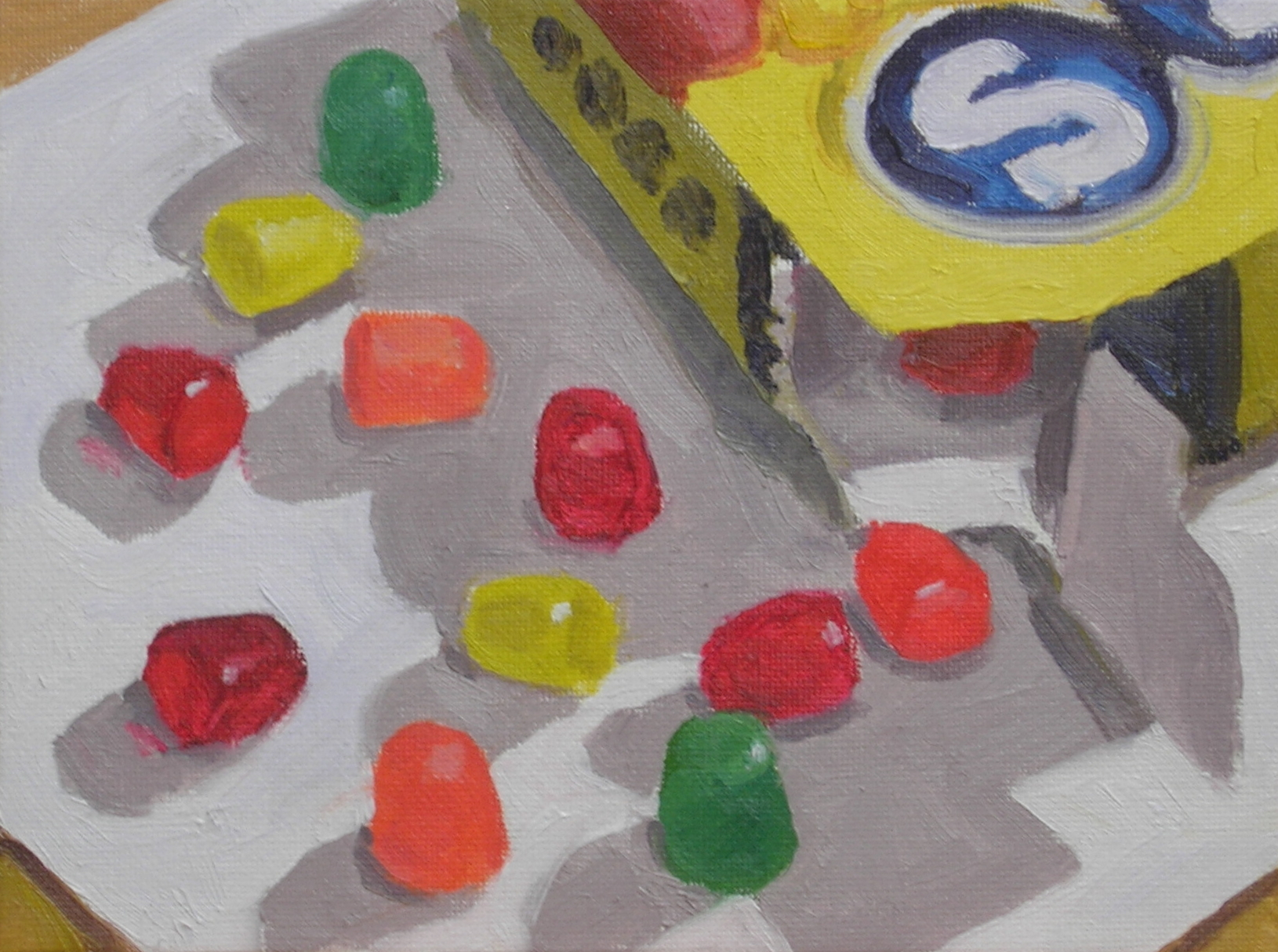 "Dots  oils, 6"" x 8""   sold"