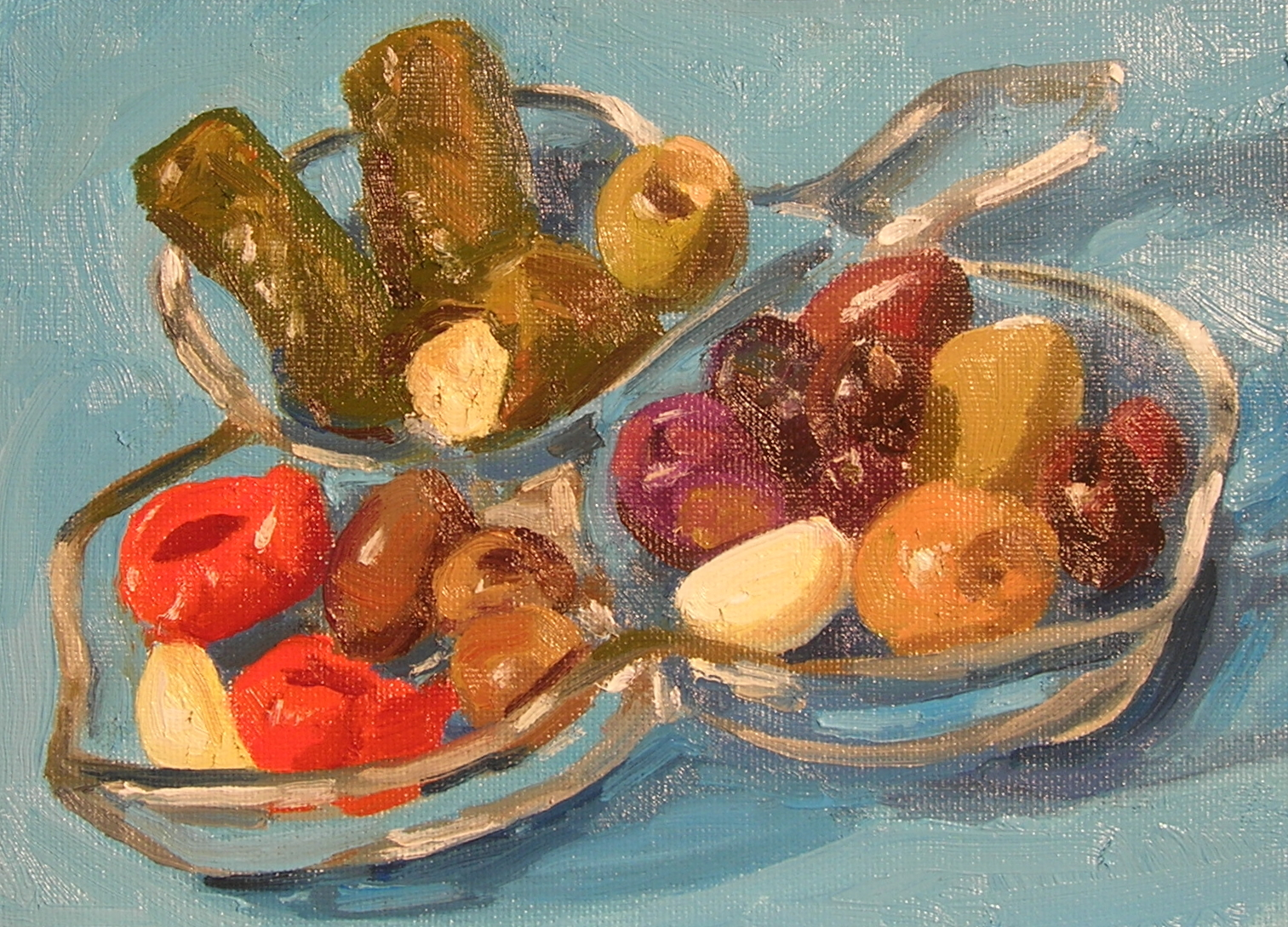 """From the Olive Bar  oils, 6"""" x 8"""""""
