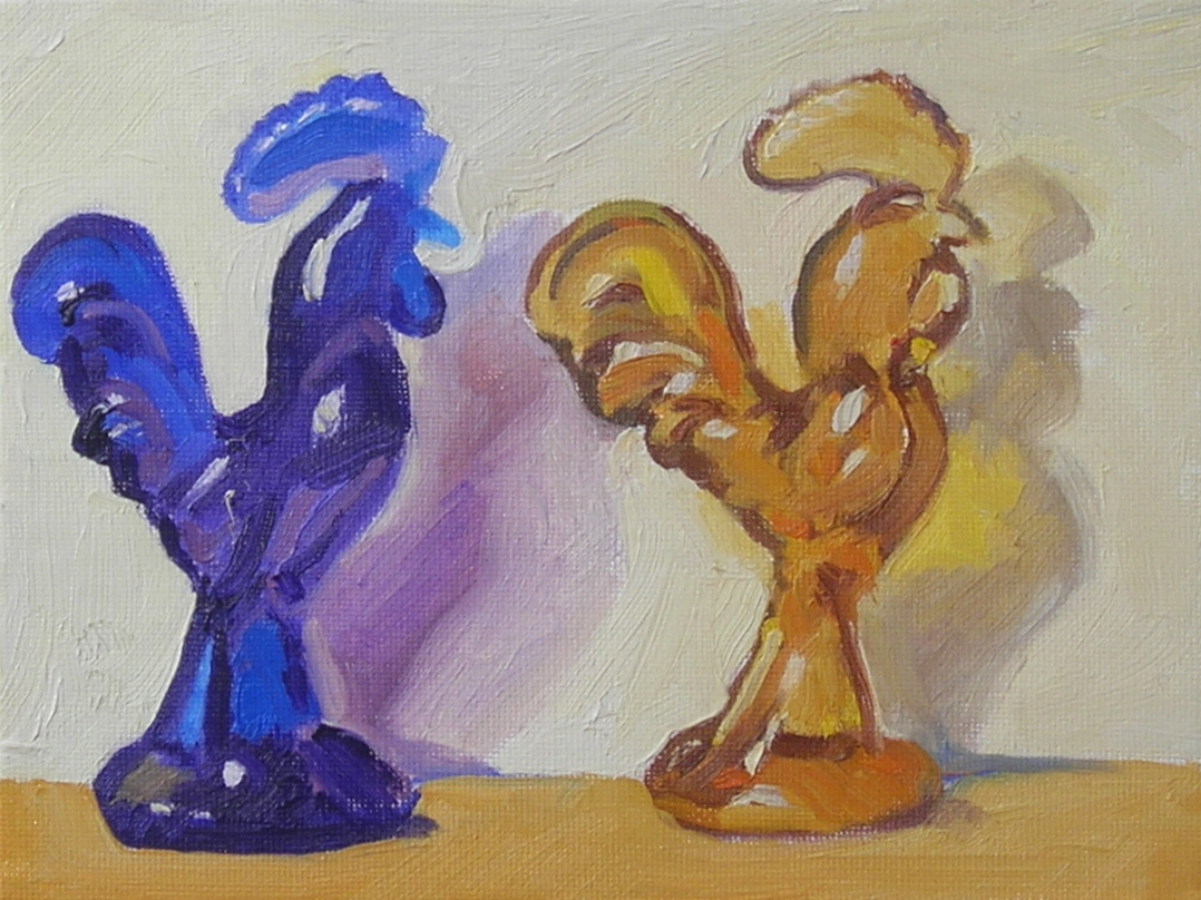 """Glass Roosters  oils, 6"""" x 8"""""""