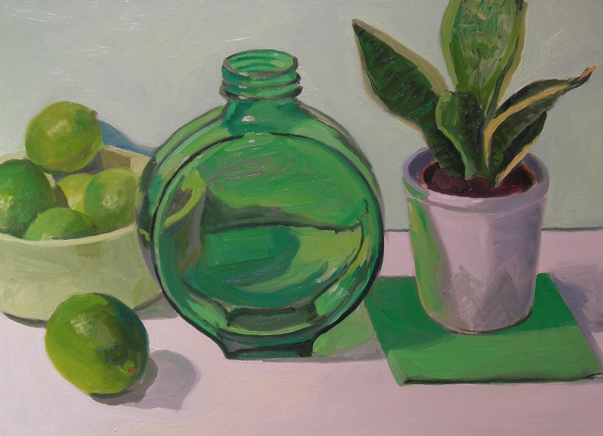 "Green  oils, 18"" x 24"""
