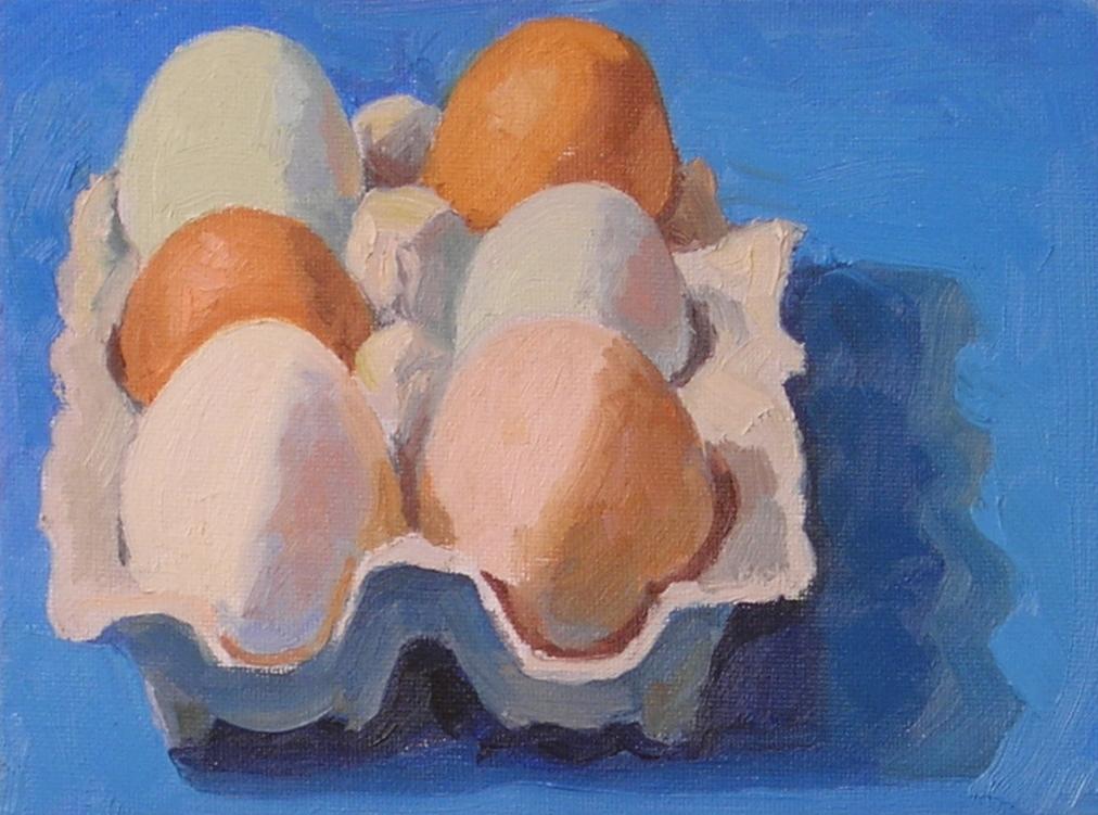 "Local Eggs  oils, 6"" x 8""  sold"