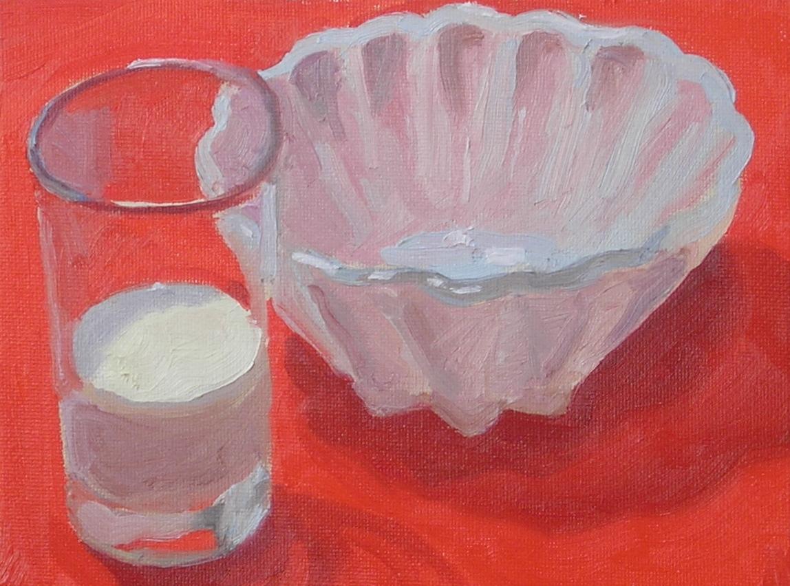 """Milk Glass, Glass of Milk  oils, 6"""" x 8"""""""