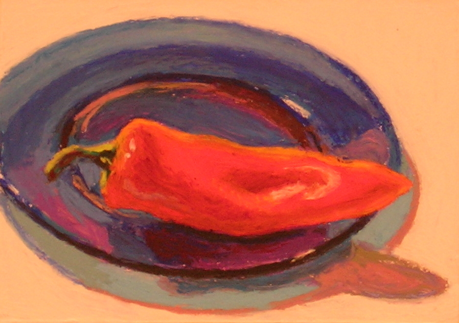 """Red on Blue  oil pastel, 6"""" x 8"""""""