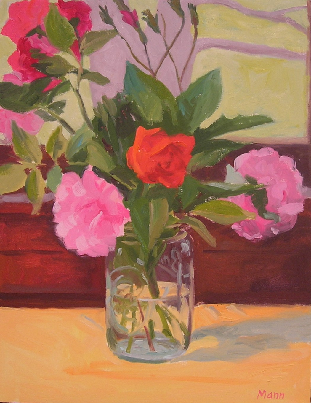 """Peonies and Roses  oils, 14"""" x 12""""  sold"""