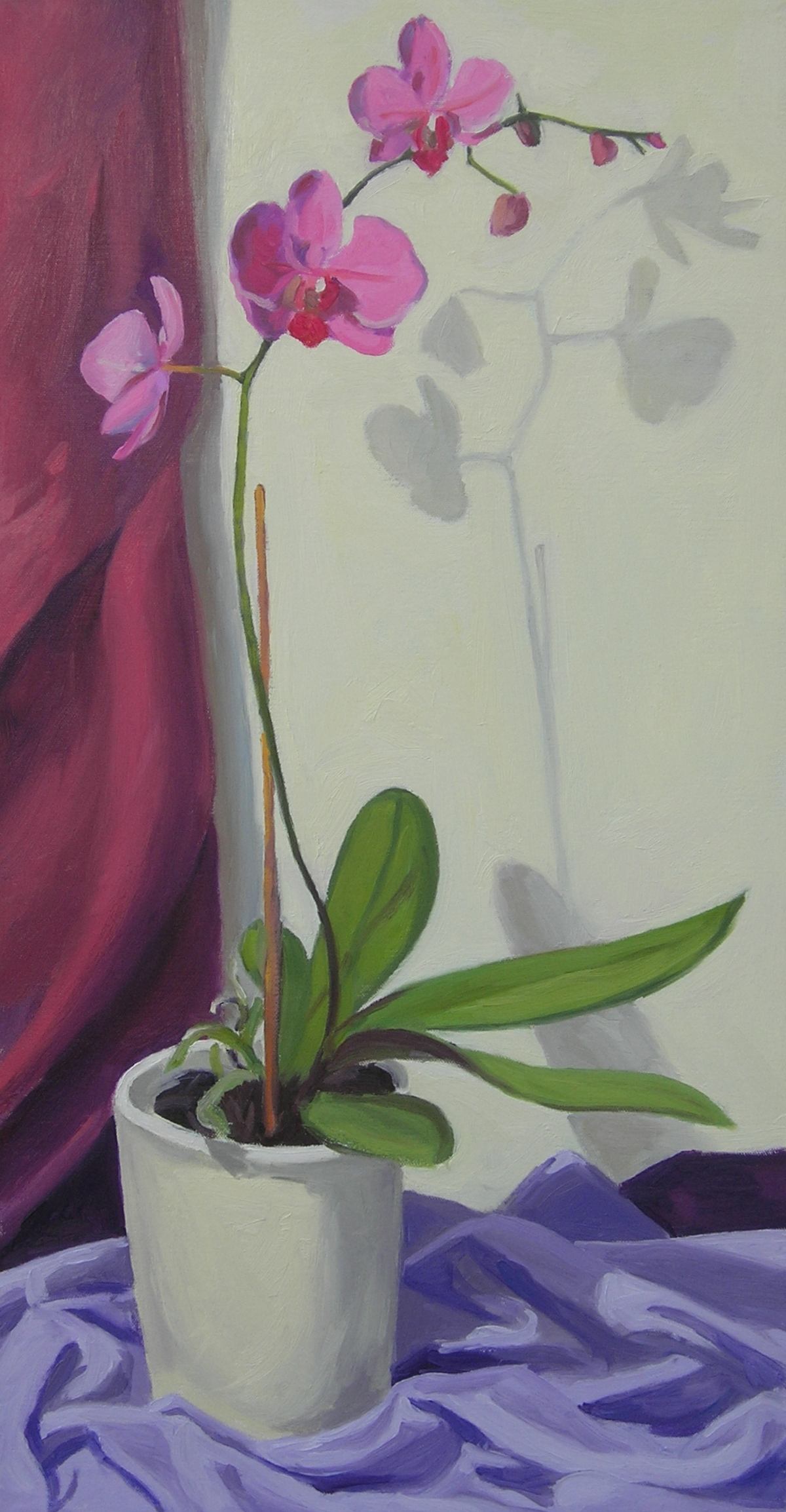 """Pink Orchid  oils, 30"""" x 15"""""""