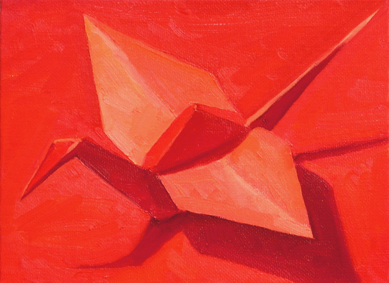 """Red Crane on Red  oils, 6"""" x 8"""""""
