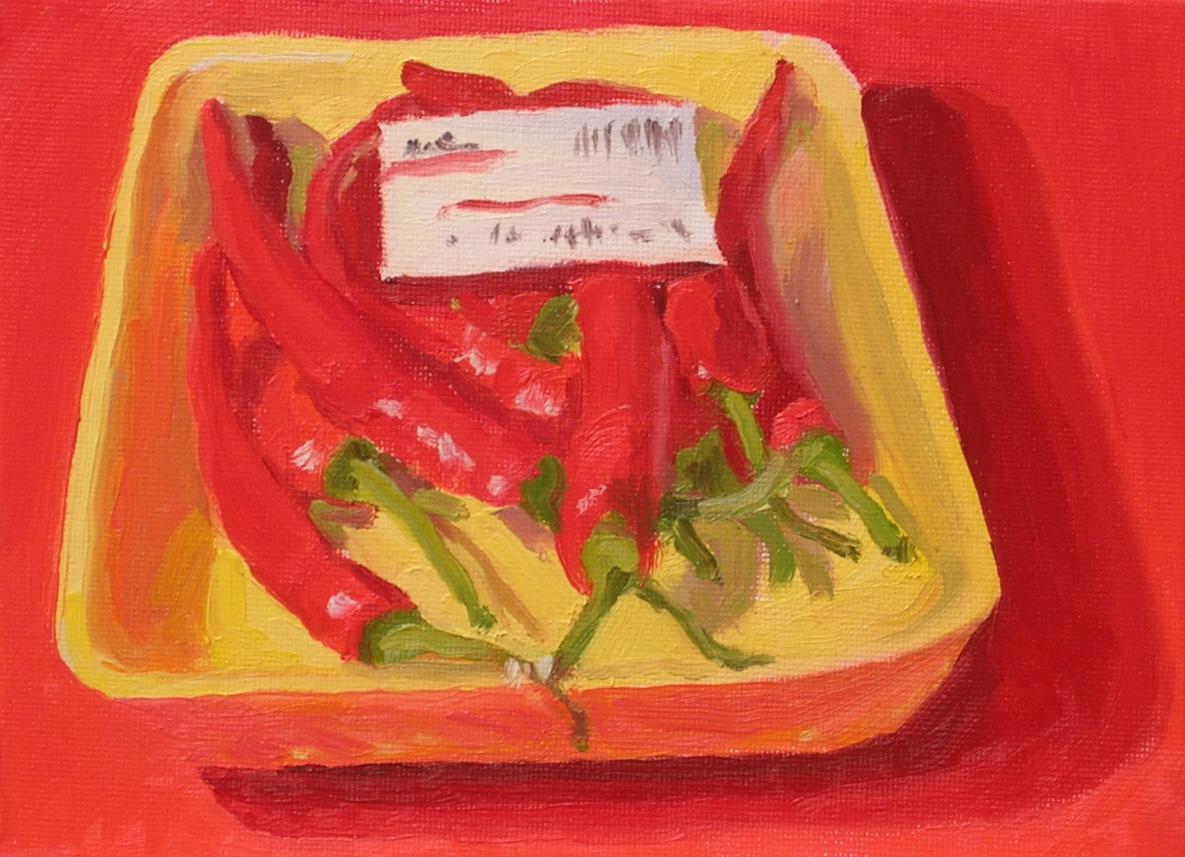 """Red Finger Hot Peppers  oils, 6"""" x 8""""  sold"""