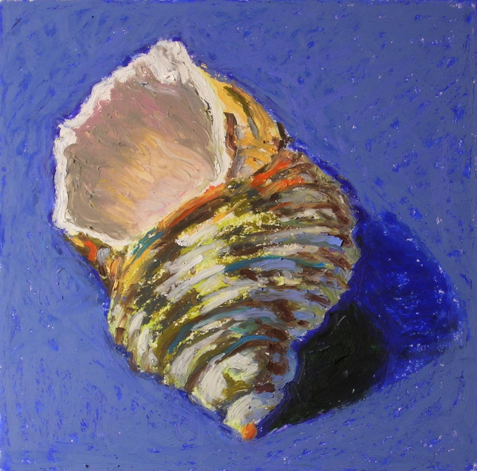 "Seashell #2  oil pastel, 5"" x 5""  sold"