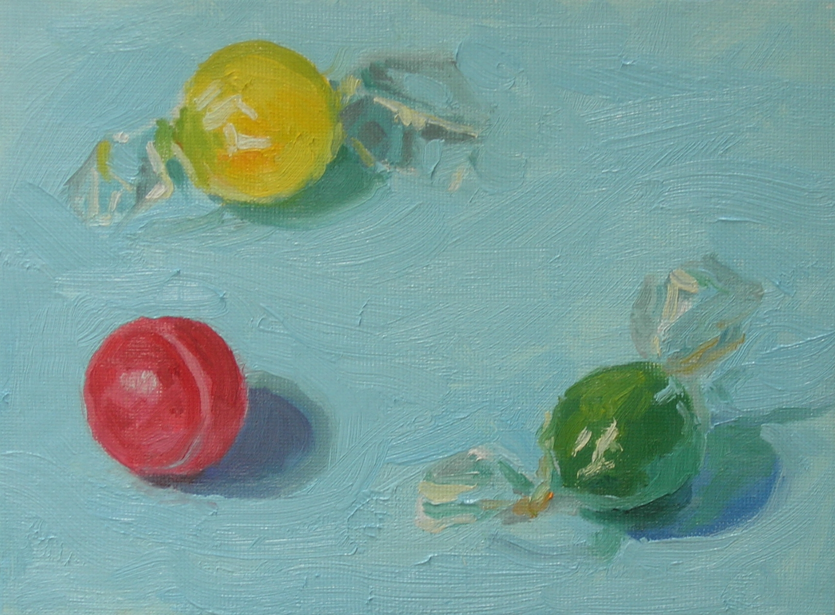 """Sour Balls  oils, 6"""" x 8""""  sold"""
