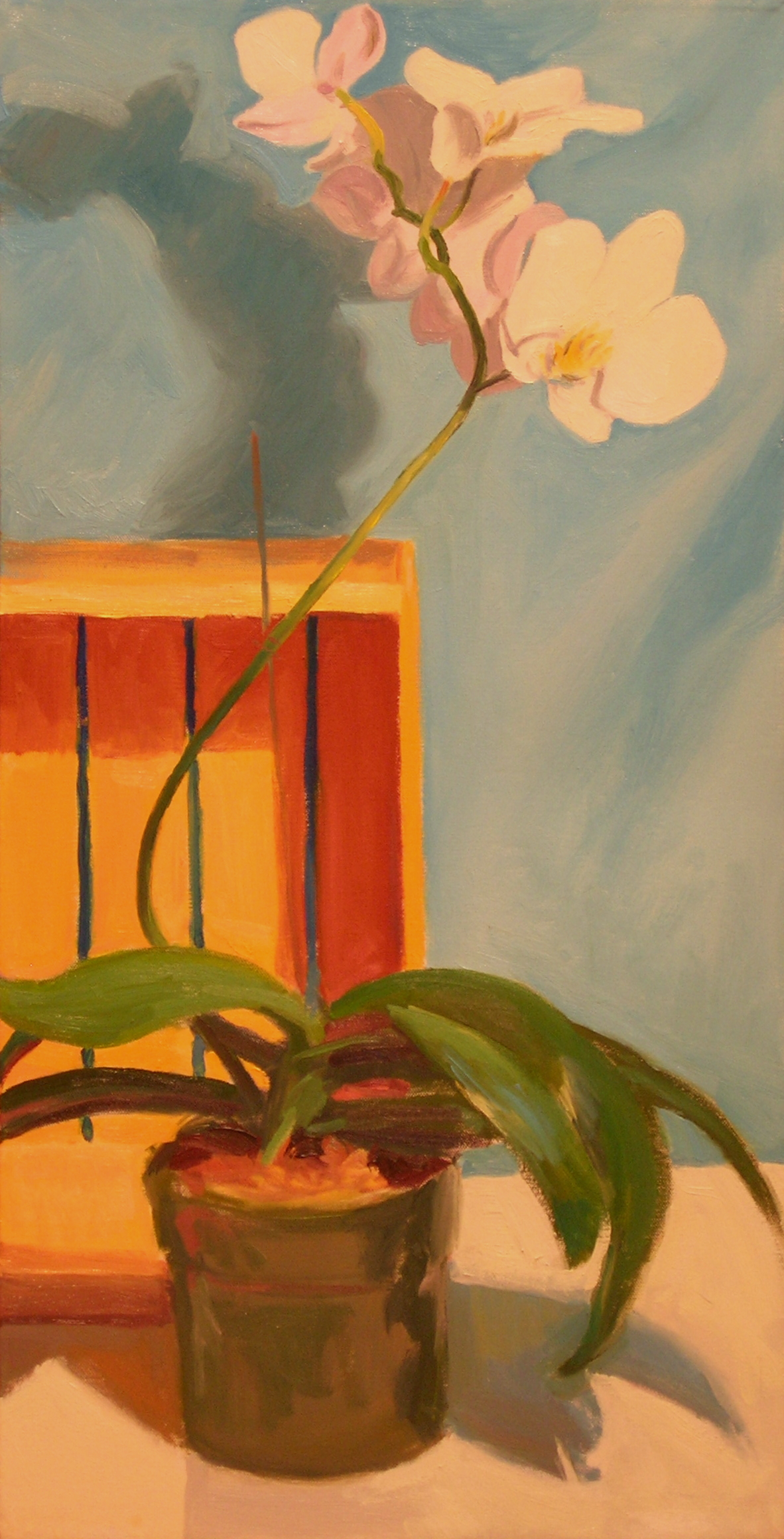 """White Orchid  oils, 30"""" x 15"""""""
