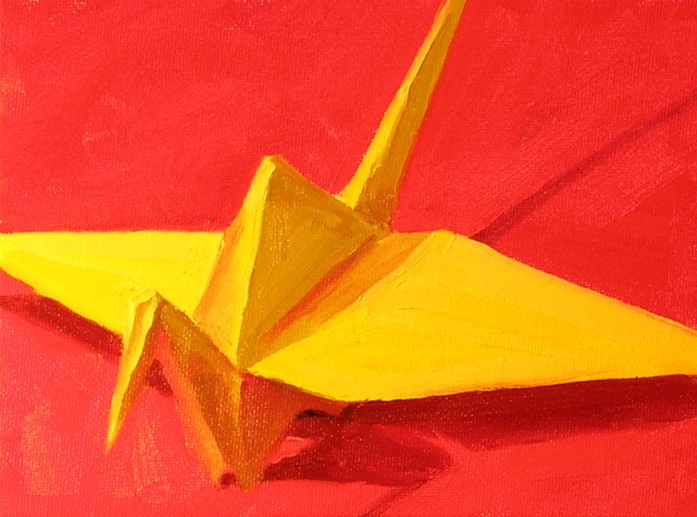 "Yellow Crane  oils, 6"" x 8"""