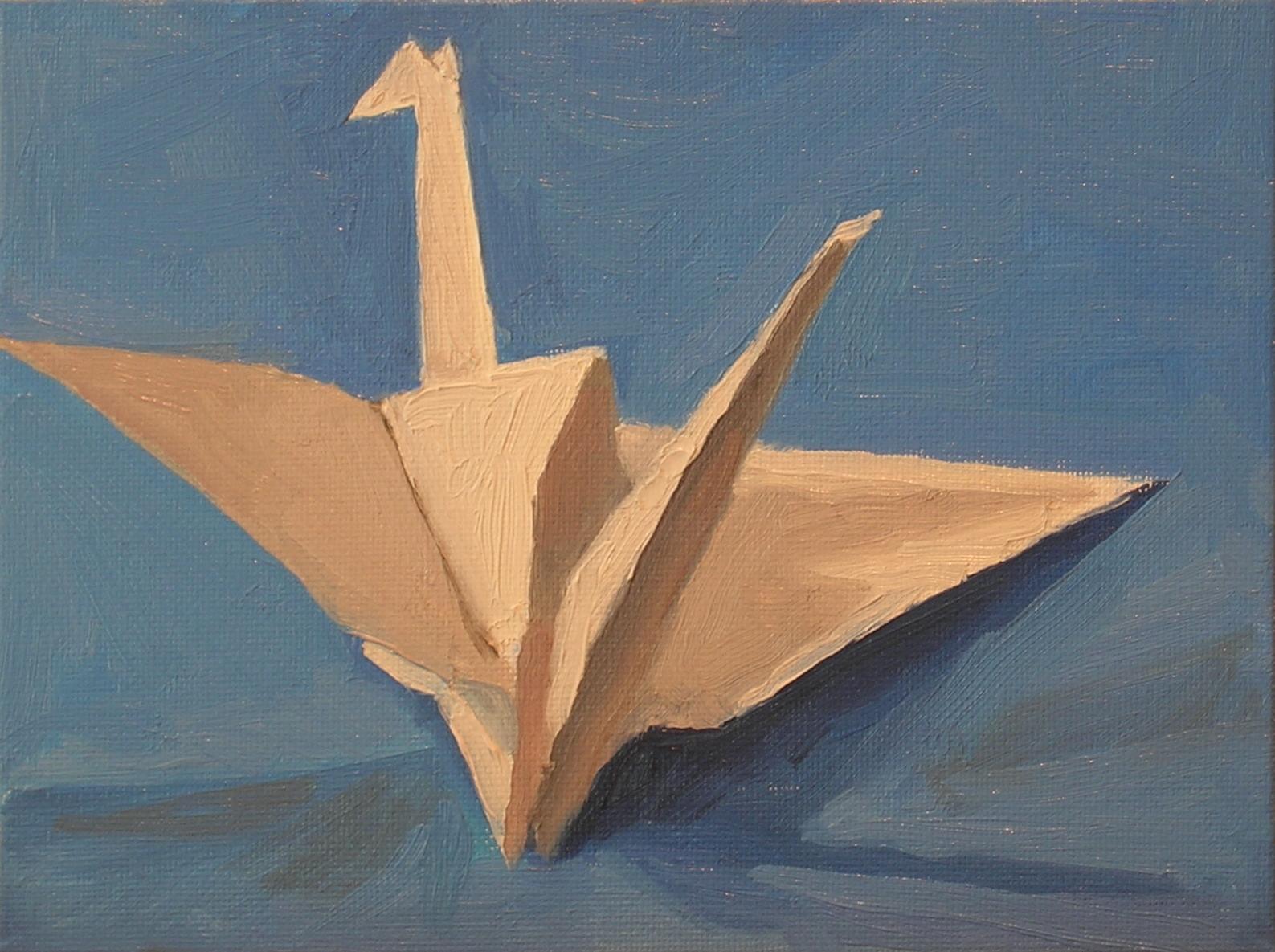 "White Crane on Blue  oils, 6"" x 8"""