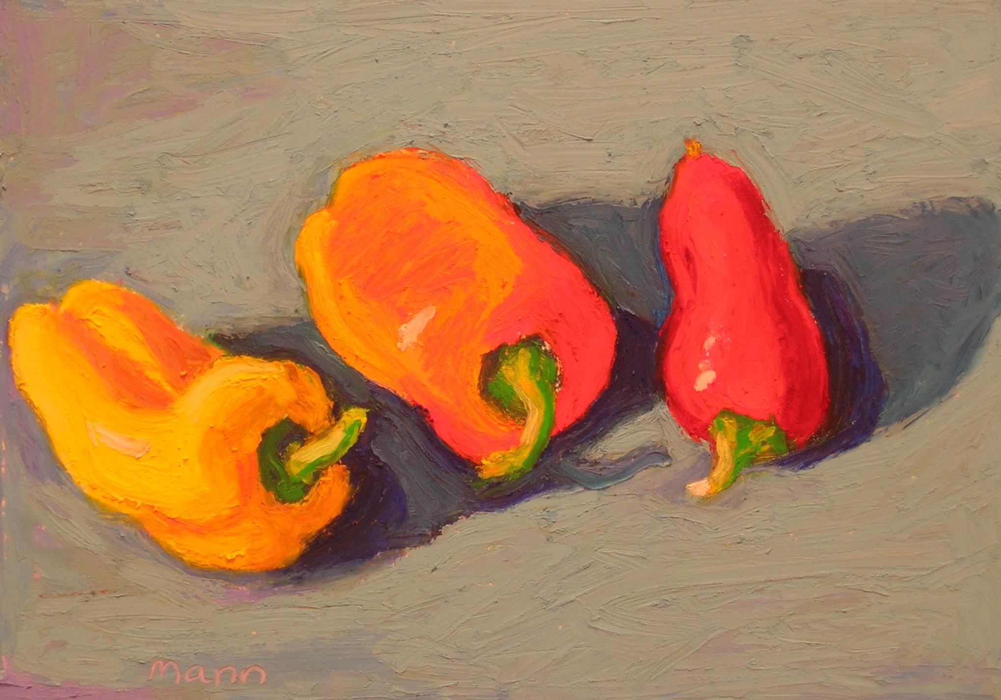 "Yellow, Orange, Red  oil pastel, 6"" x 8"""