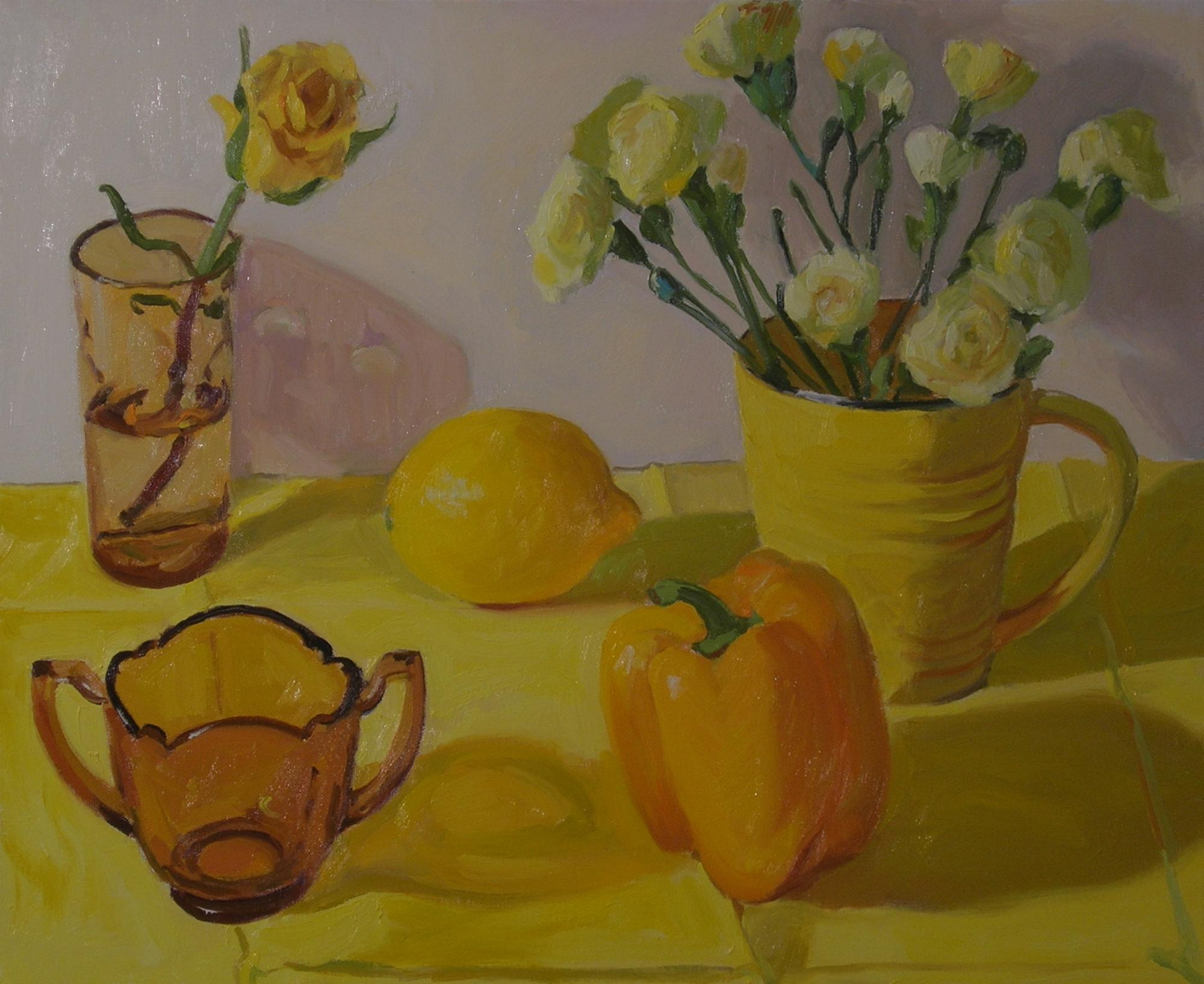 "Yellow  oils, 18"" x 24"""