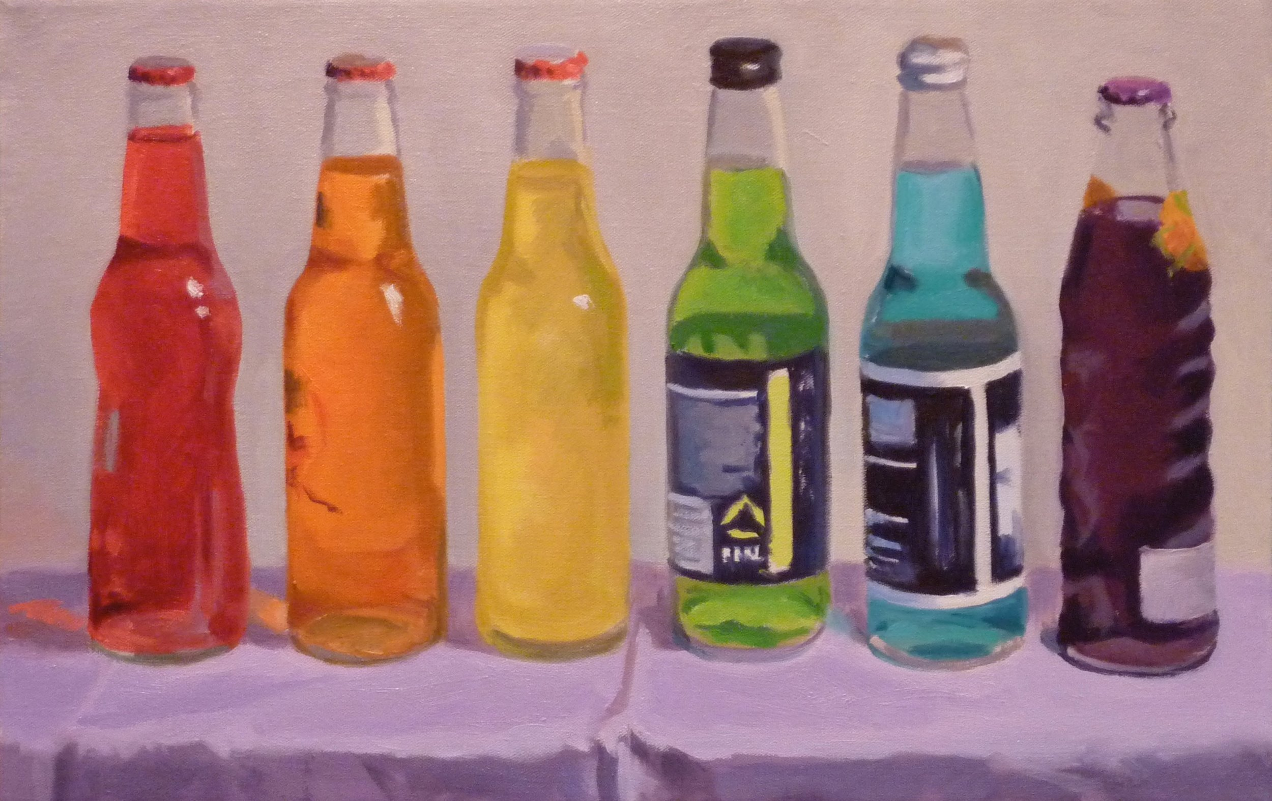"Rainbow Pop  oils, 14"" x 22""  sold"