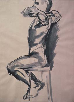 "First figure drawing  ink wash, 24"" x 18"""