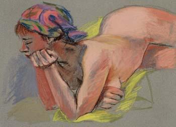 "Reclining Nude  pastel, 19"" x 24"""