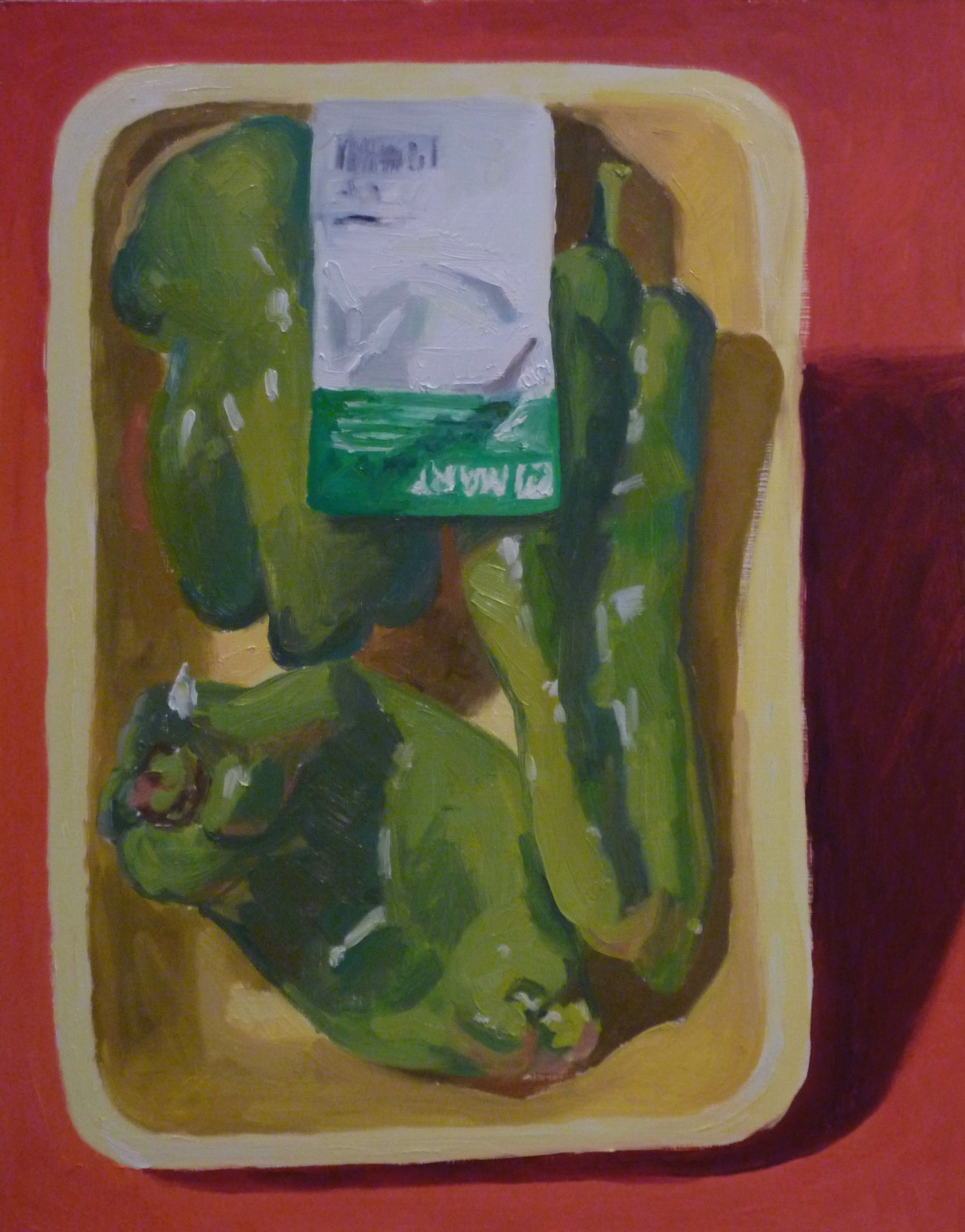 """H Mart Peppers  oils, 18"""" x 14"""""""