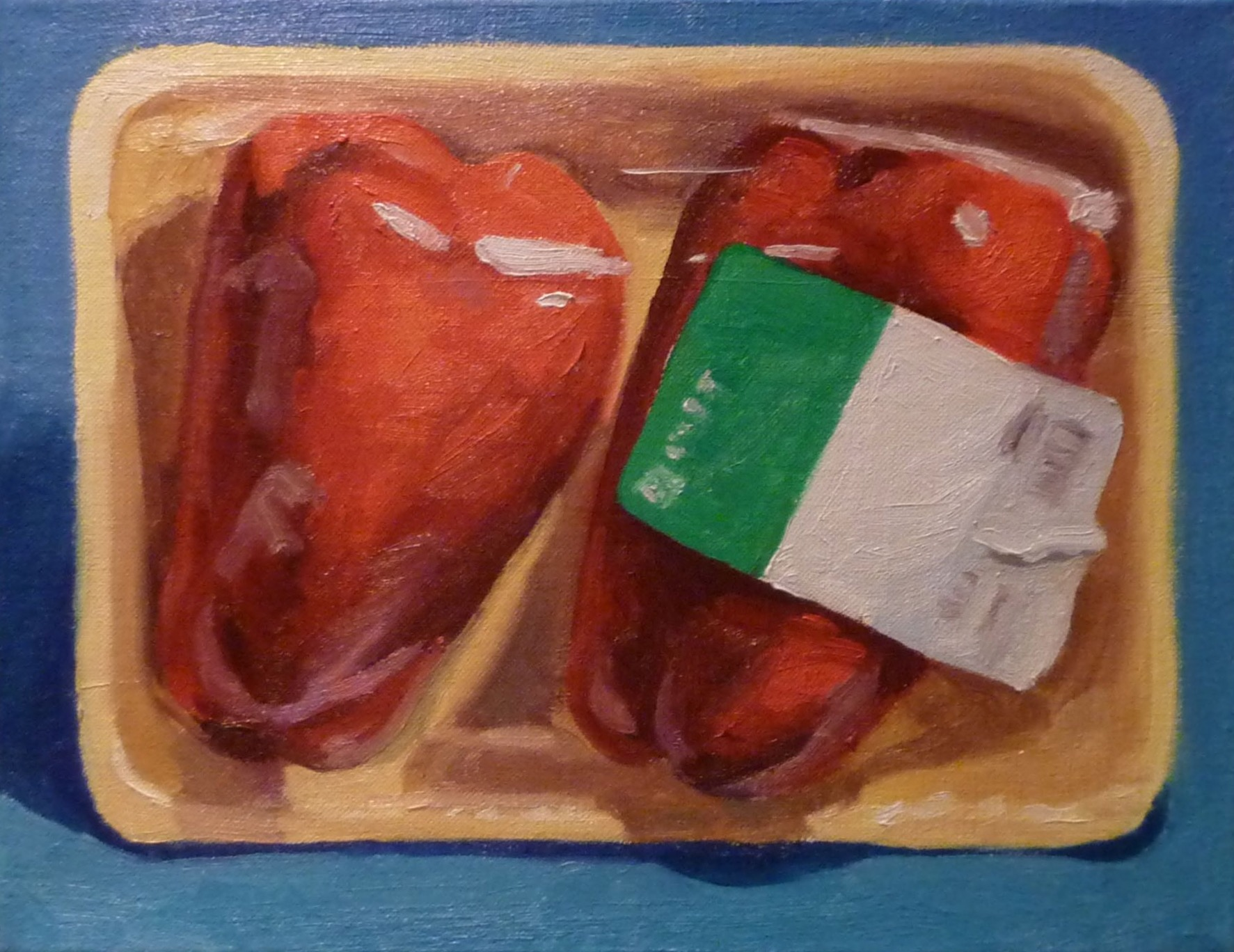 """H Mart Red Peppers  oils, 11"""" x 14"""""""