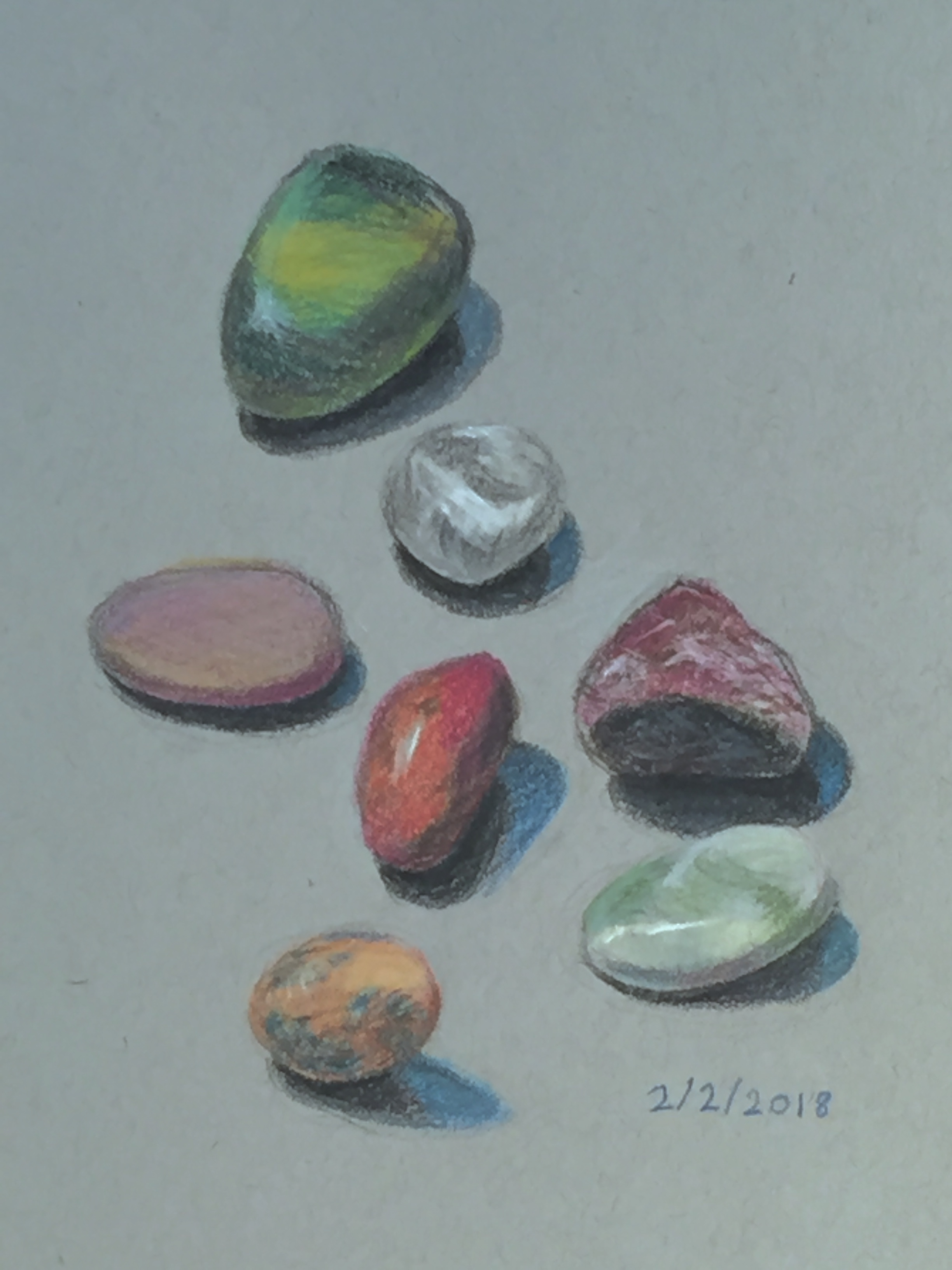 "Little Rocks  8"" x 6"", colored pencil"