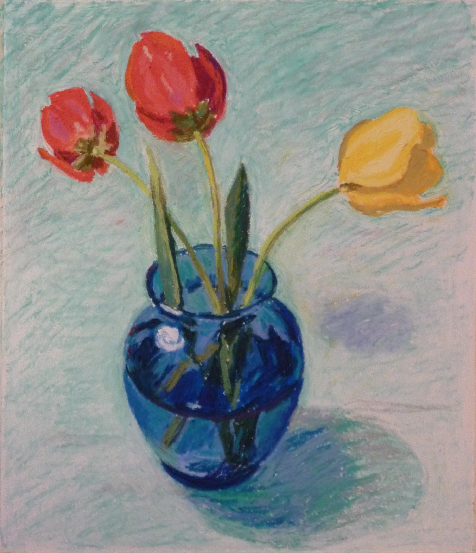 """Tulips in Blue Vase 12"""" x 9"""", oil pastel"""