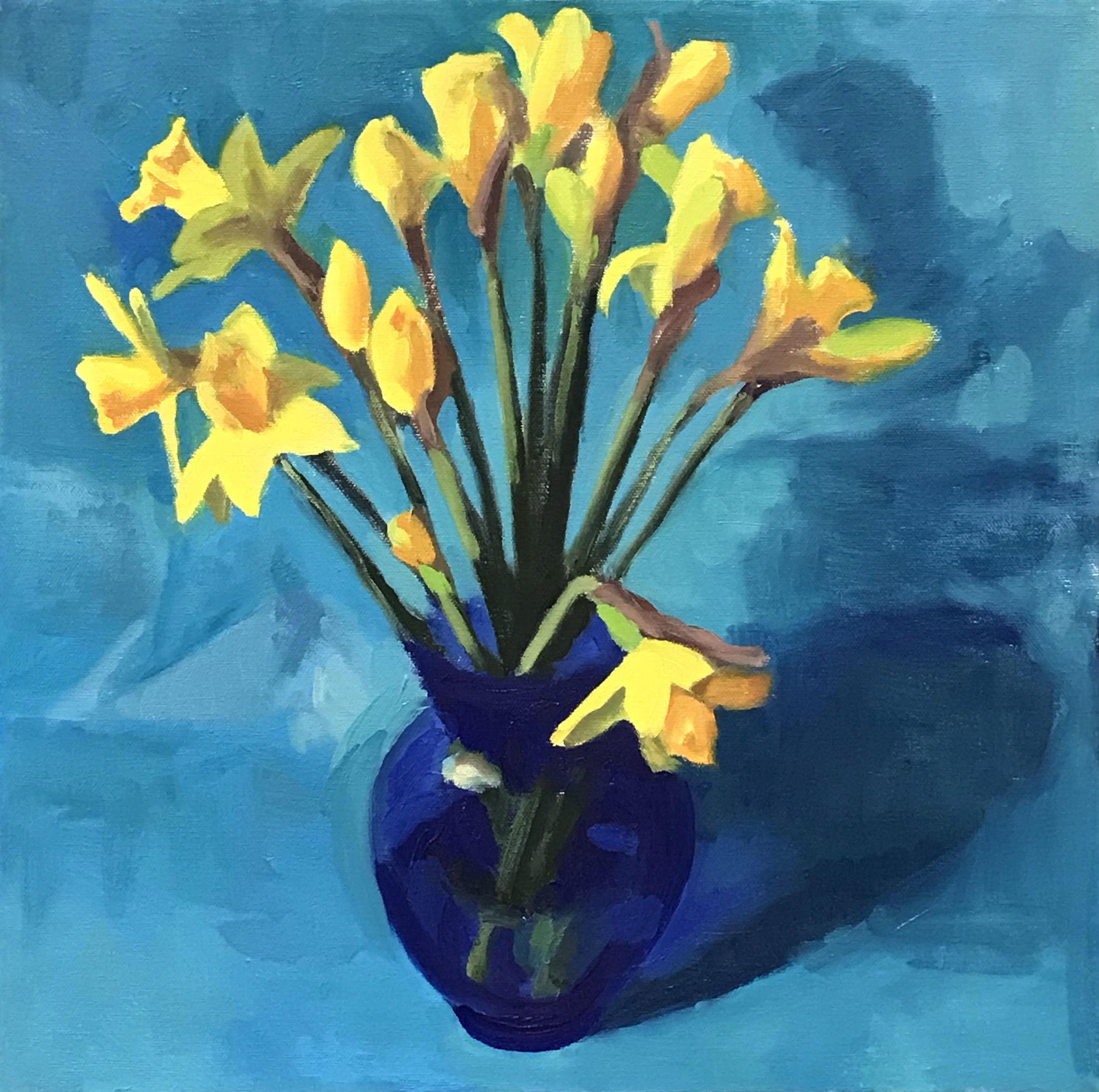 "Daffodils  oils, 15"" x 15"",  sold"