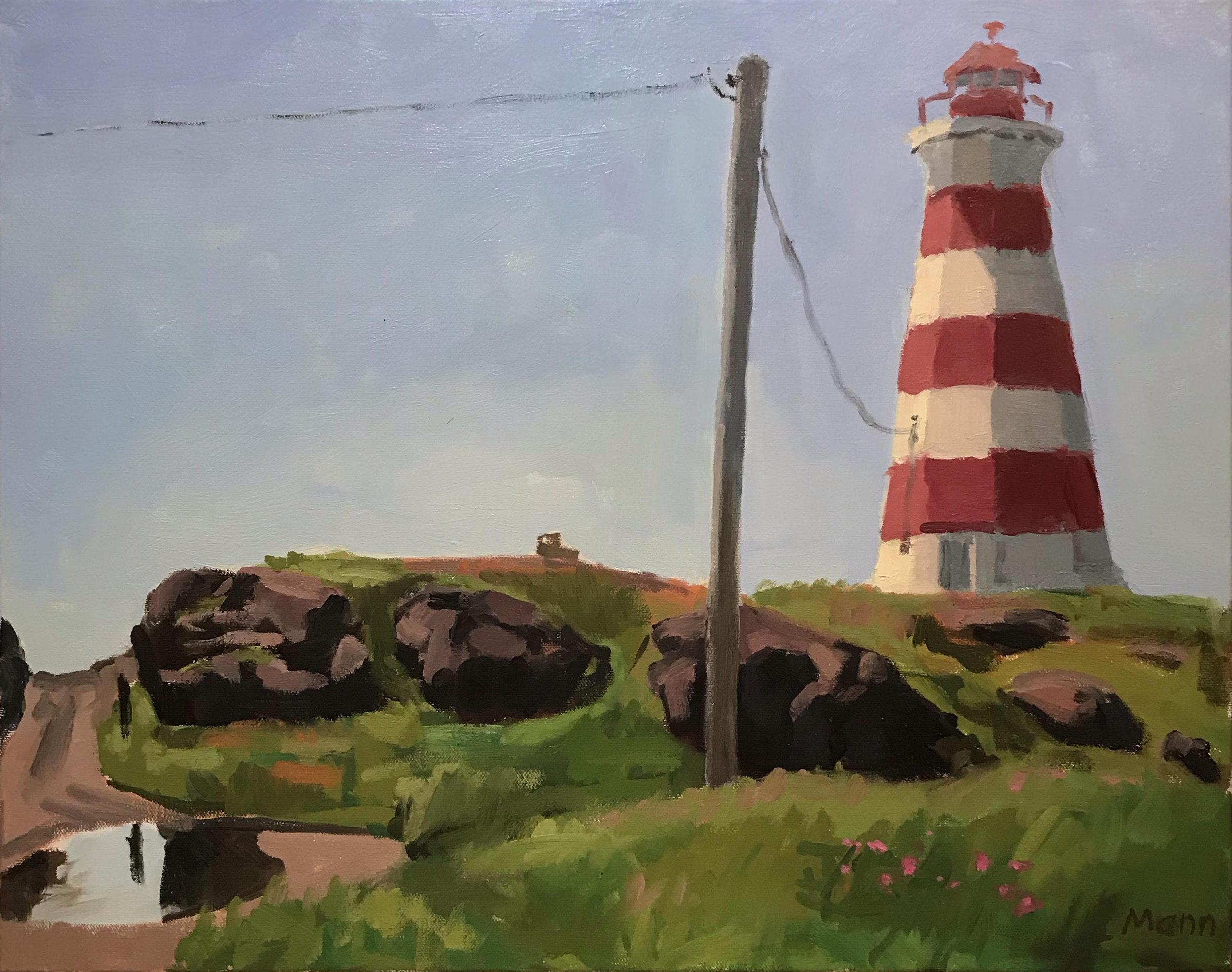 "Brier Island Lighthouse  oils, 16"" x 20"""