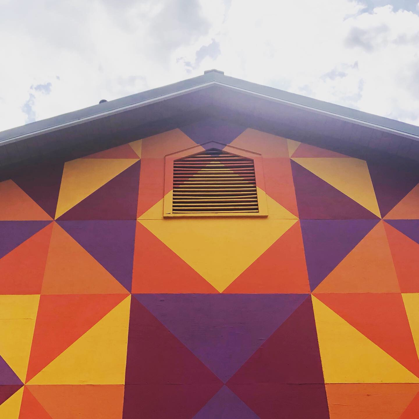 Large barn quilt painting.