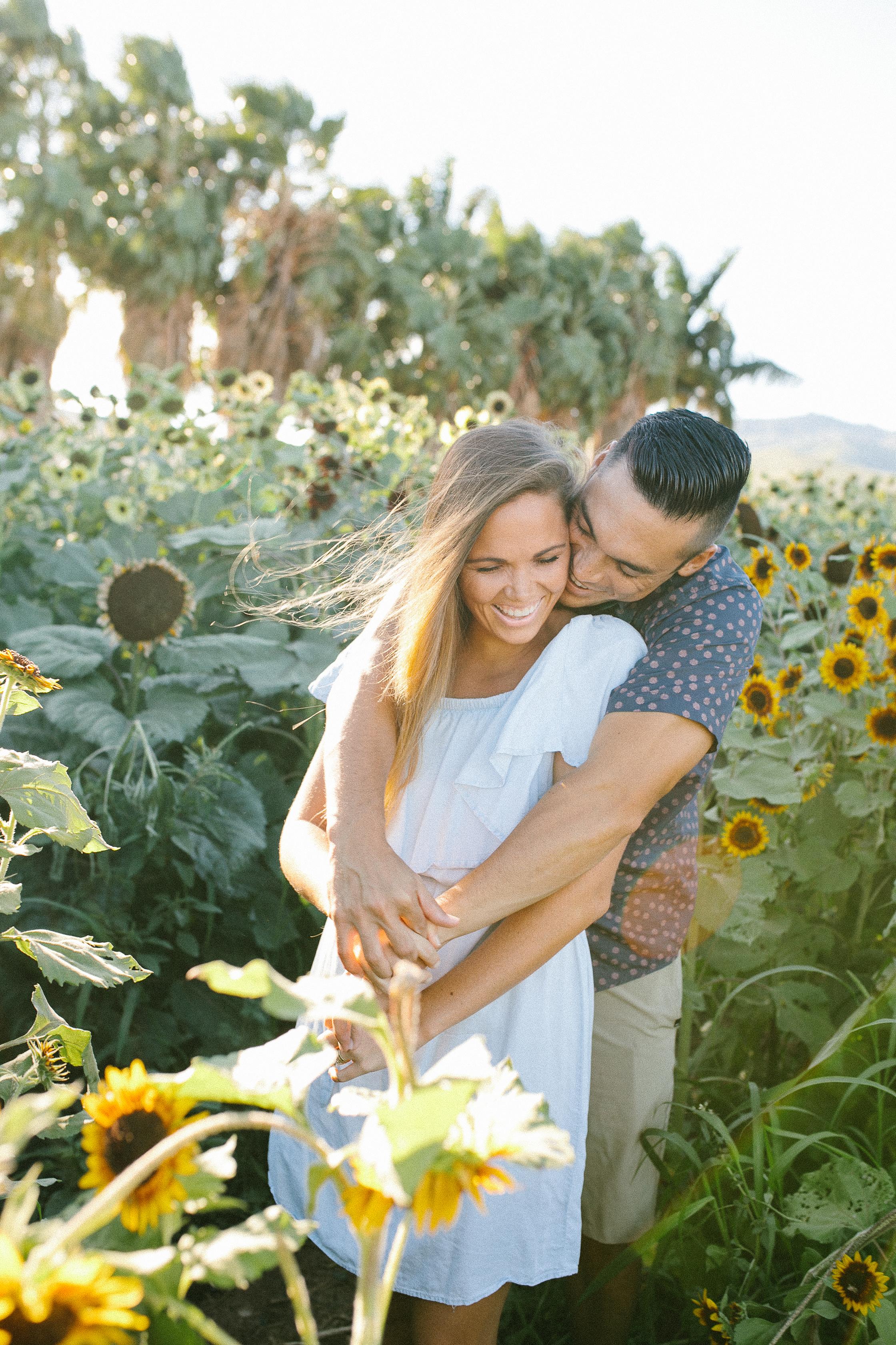 Sunflower Fields Couples Shoot Oahu Hawaii