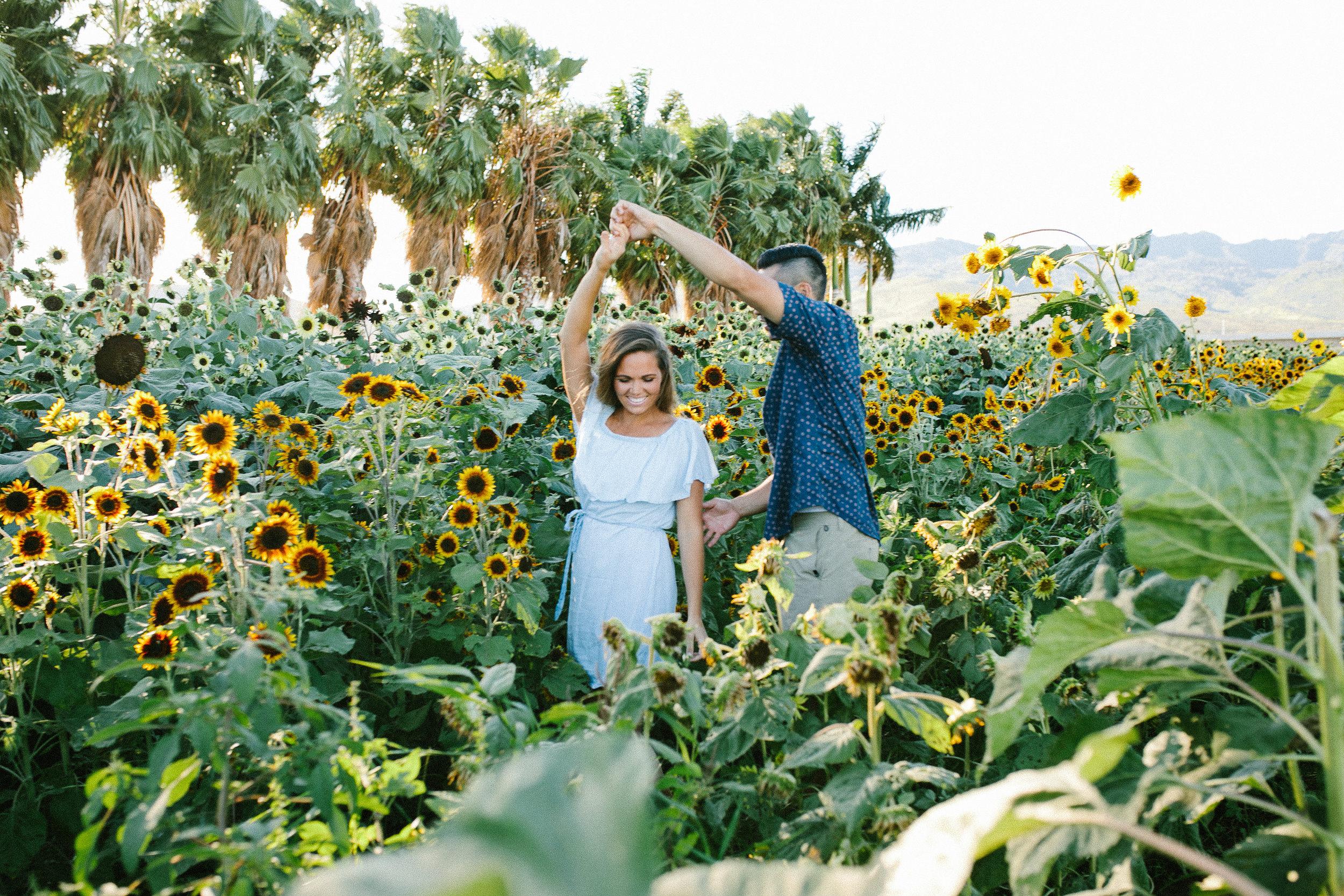 Hawaii Couple Sunflower Field Shoot